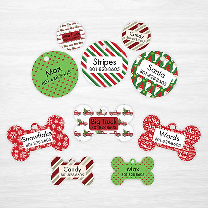 Traditional Christmas Pet IDs, Dog Tags, Cat Tags