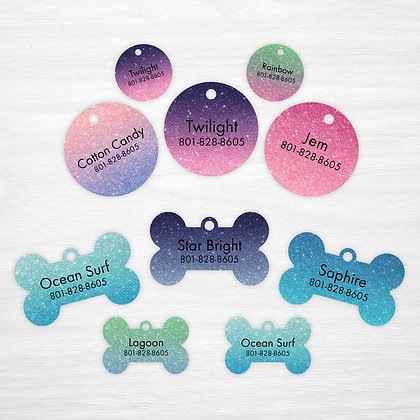 Ombre Glitter Pet IDs, Dog Tags, Cat Tags (not acutal glitter, printed on tag)