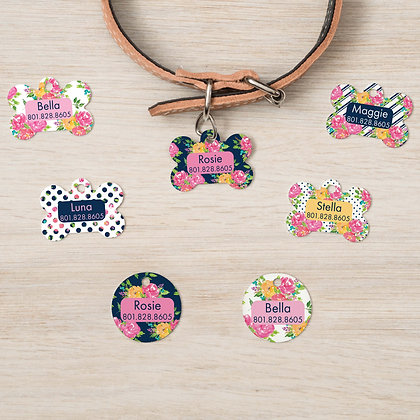 Floral Watercolor Pet IDs, Dog Tags, Cat Tags