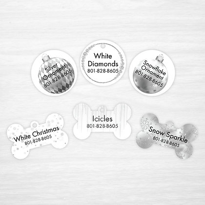 White Christmas Pet IDs, Dog Tags, Cat Tags