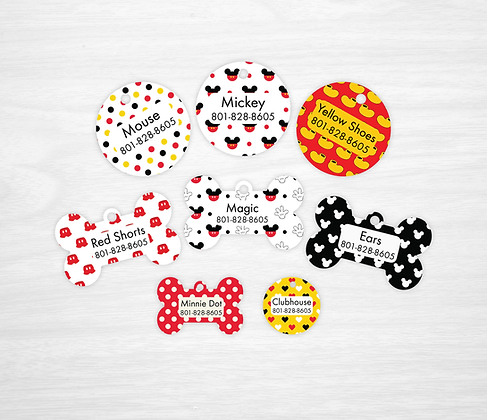 Mickey Mouse Pet IDs, Dog Tags, Cat Tags