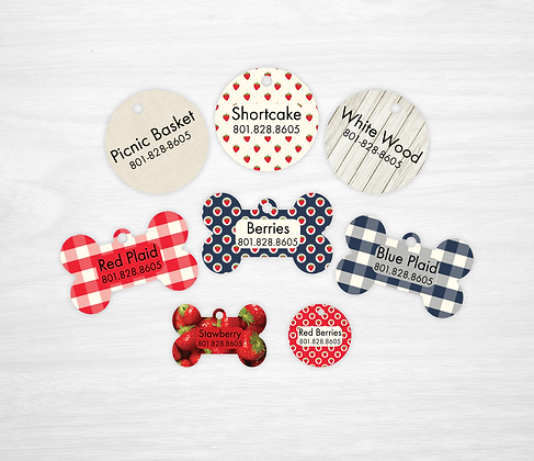 Strawberry Picnic Pet IDs, Dog Tags, Cat Tags