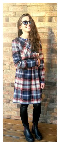 Vilnonė suknelė rudeniui