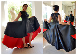 Atlasinė puošni suknia