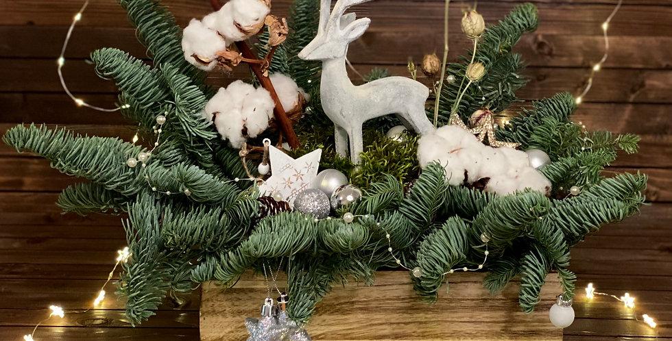 """Vánoční kompozice """"Stříbrný jelen"""""""
