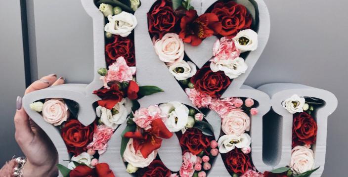 Krabice I LOVE YOU č.2 s mixem květin