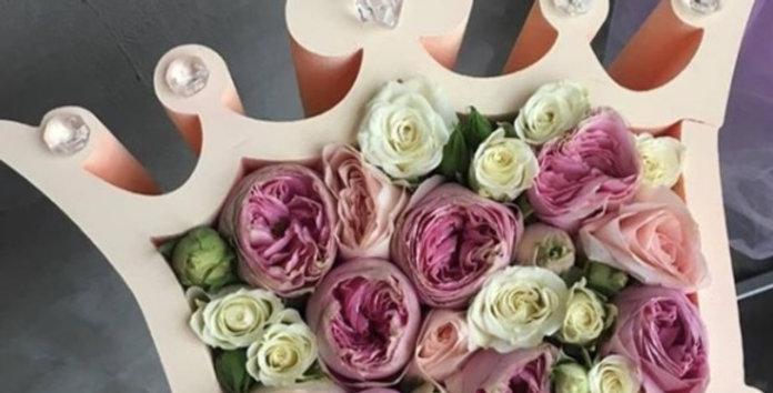 "Dárkový box ""My queen"" s květinami"