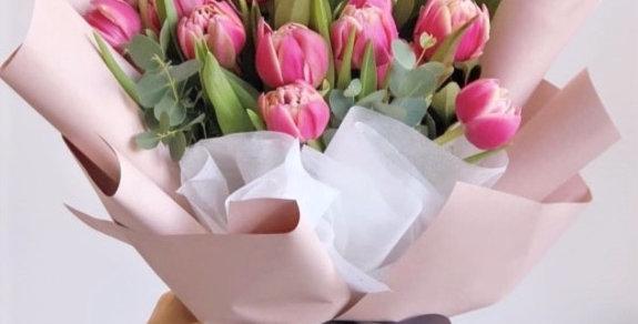 19 růžových tulipánů