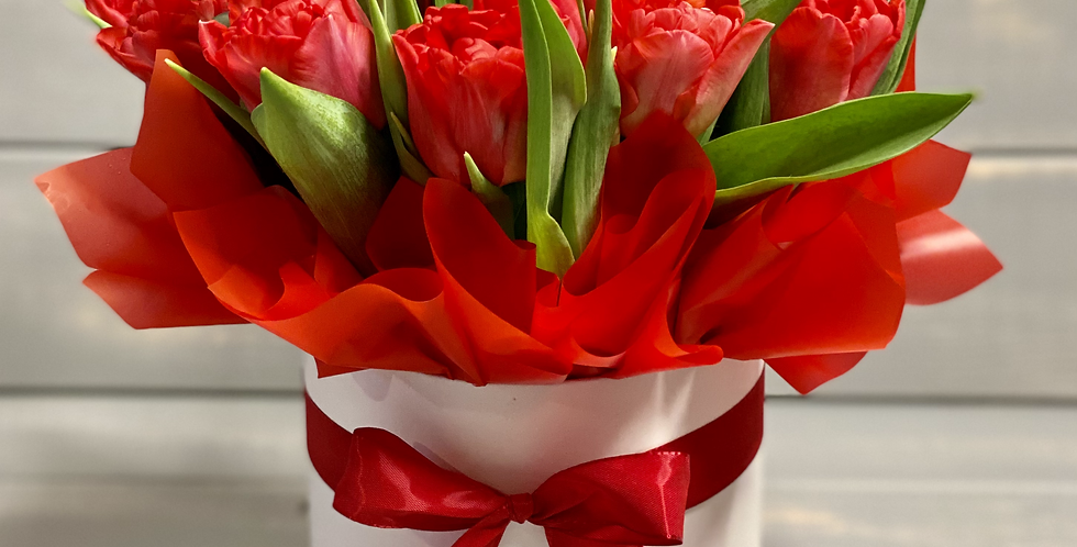 Krabice s tulipány v barvě dle výběru