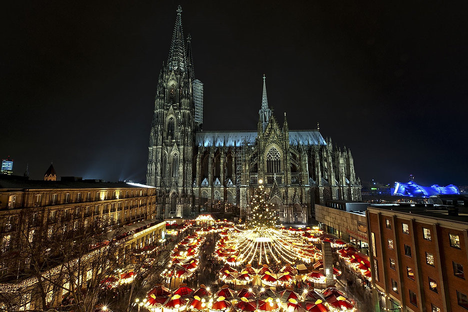 European Christmas market in a cathedral's square