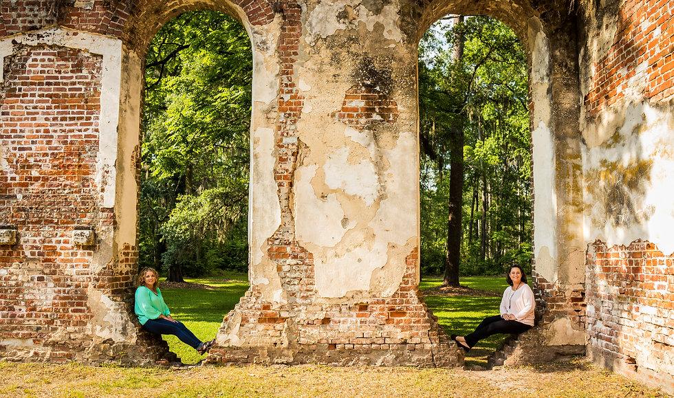 Mandy and Tiffany exploring the Old Sheldon Church ruins