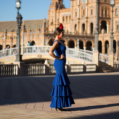 The girl with flamenco dress looking at