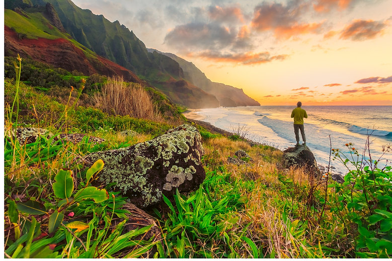 Hiker on a gorgeous mountainside near abeach