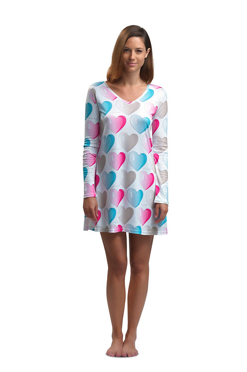 HEARTS NIGHTIE long sleeve