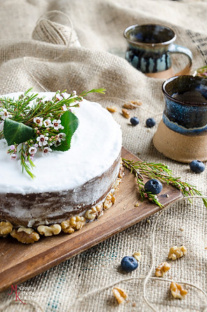 carrot cake, rustic, cake, nuts, flowers