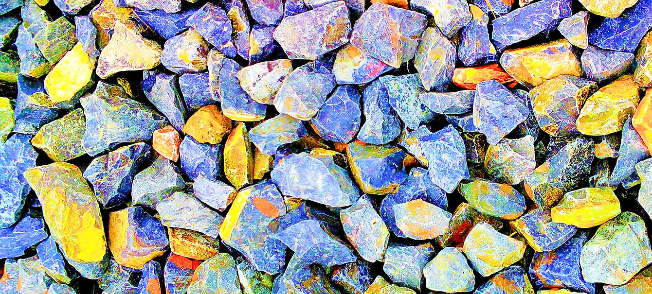 blue and yellow stones