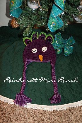 Crocheted Peacock Hat- Purple