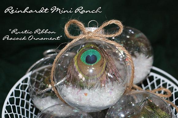Rustic Ribbon Peacock Ornament