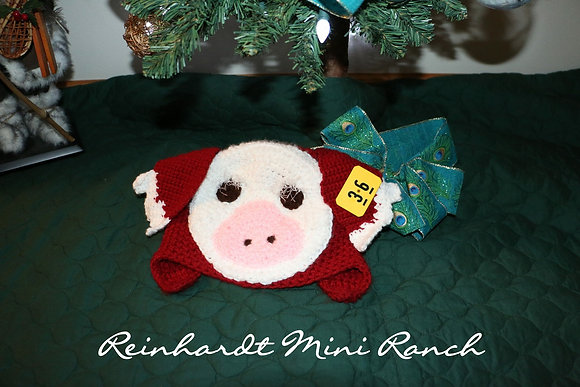Crocheted Hereford Pig Hat
