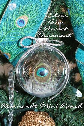 Silver Bow Peacock Ornament