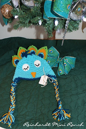 Crocheted Peacock Hat- Blue