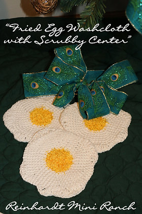 Crocheted Fried Egg Washcloth with Scrubby Center