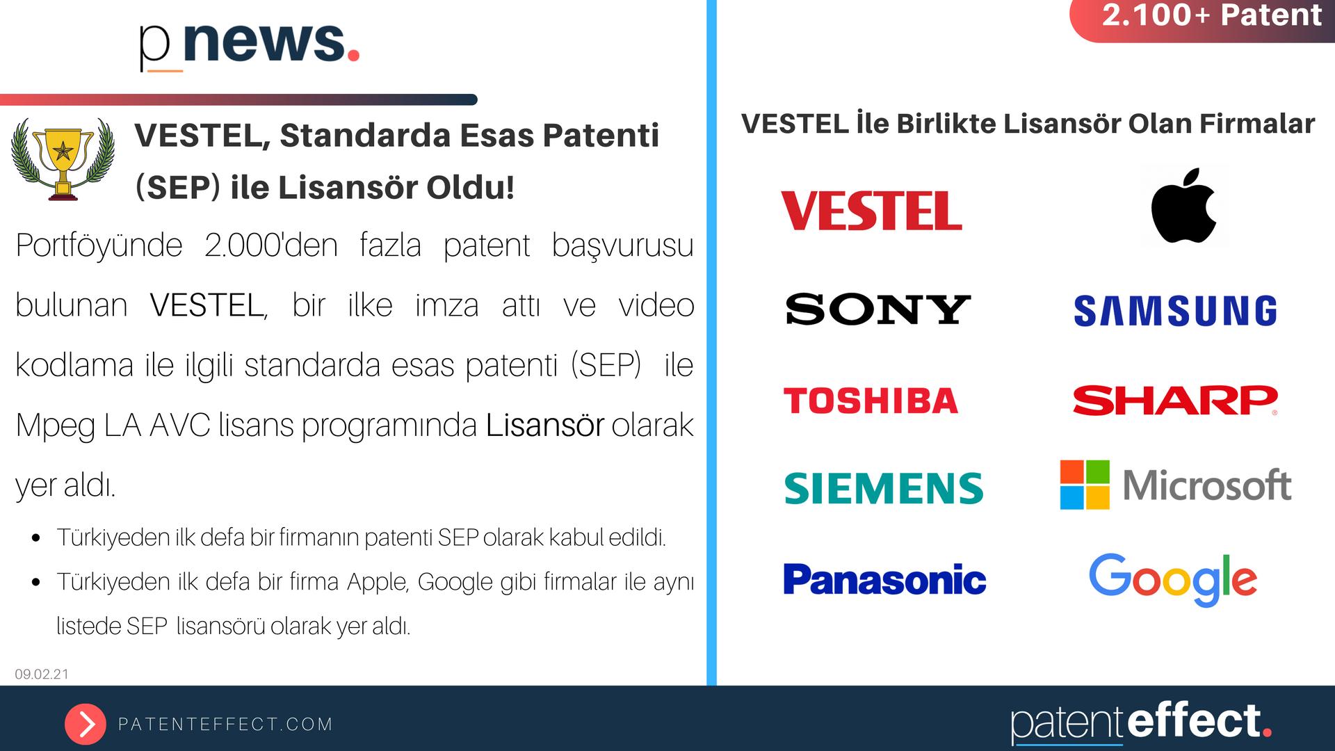 VESTEL, Standarda Esas Patenti (SEP) ile Lisansör Oldu!