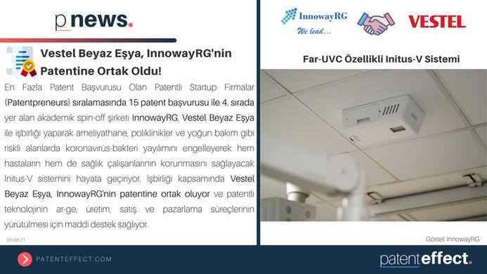 📢 Vestel Beyaz Eşya, InnowayRG'nin Patentine Ortak Oldu!