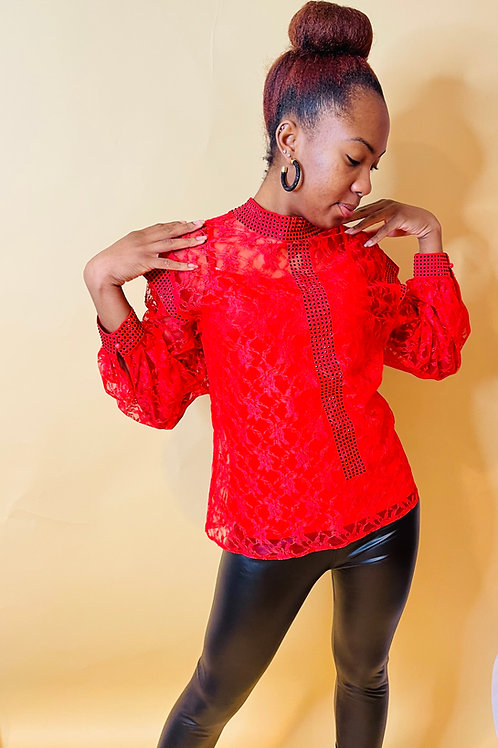 The Lacey red blouse