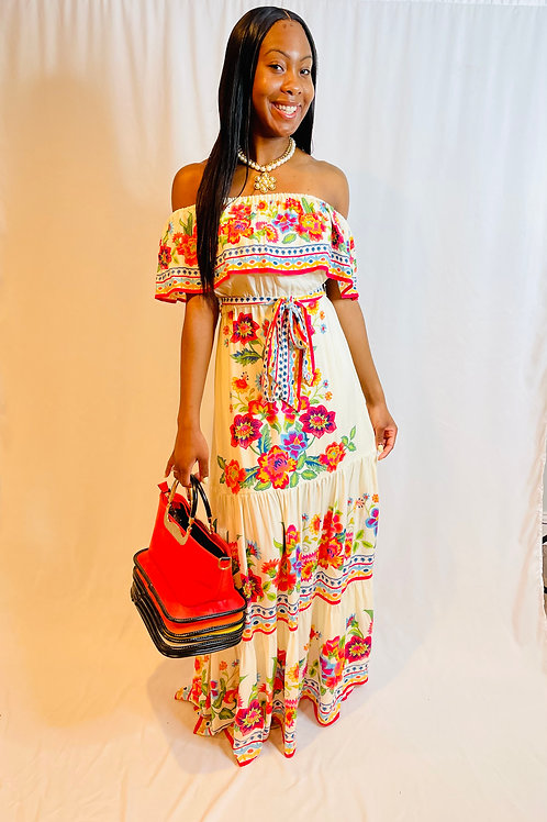 She's so fancy off shoulder cotton/rayon maxi floral dress