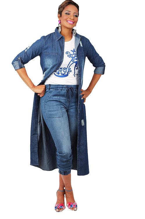 It's denim dress/tunic belted (side slit)