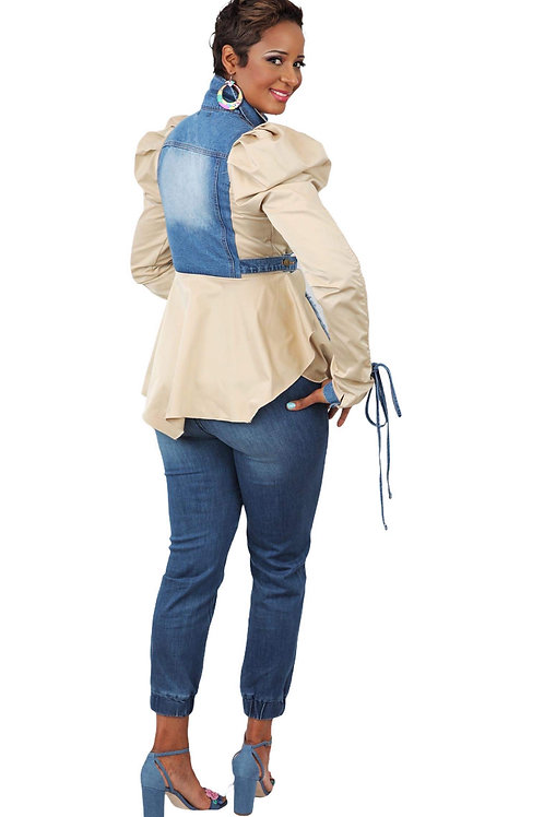 2 tone khaki (cotton) and denim statement jacket