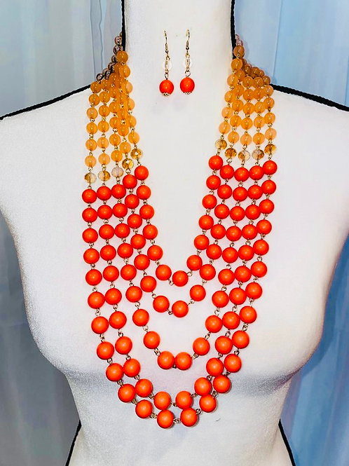 Orange Two Tone Pearl Necklace