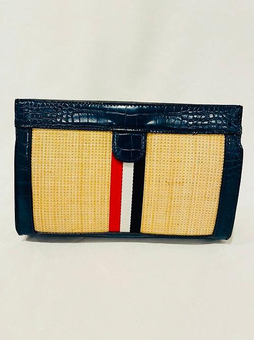 Navy stripe clutch