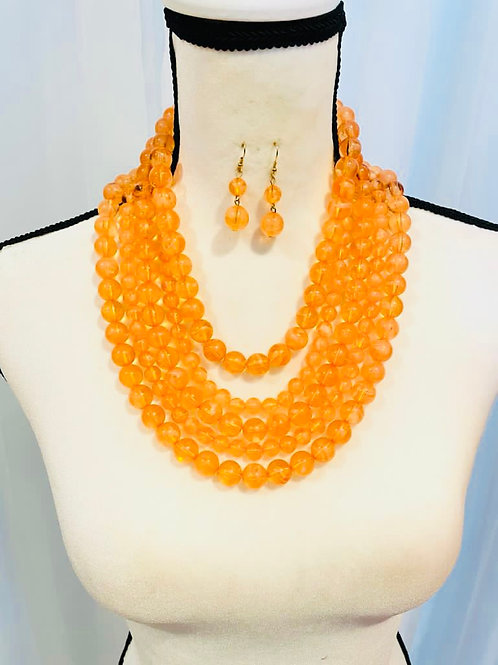 Orange Layered Resin Necklace