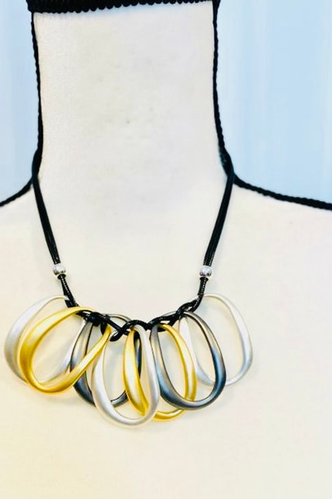 3 tone Gold silver pewter necklace