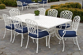 Nassau 9 Pcs Cast Aluminium Dining Set - White $ 5391