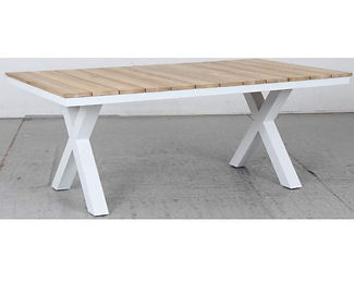 Switch Natural Teak Dining Table with X