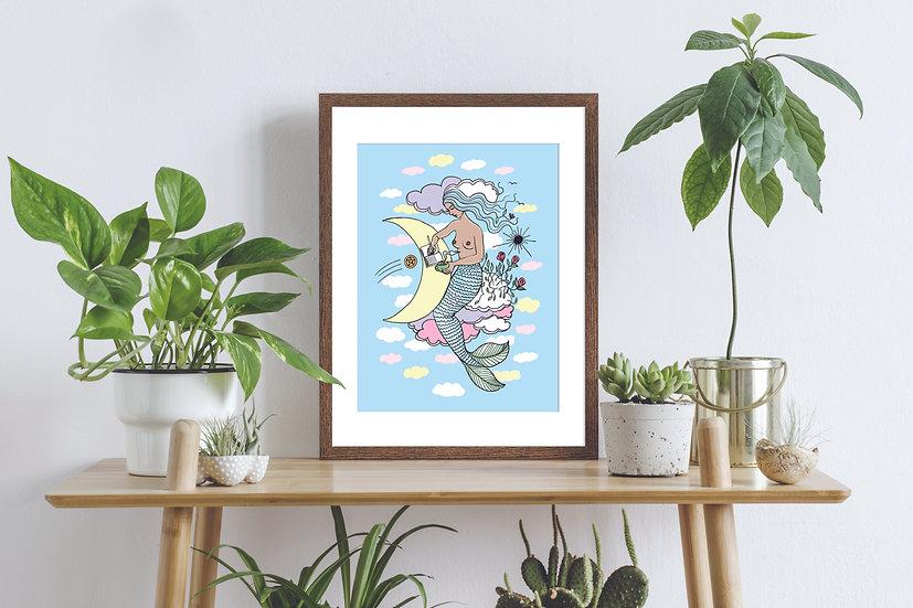 Cloud Mermaid Wall Art Print