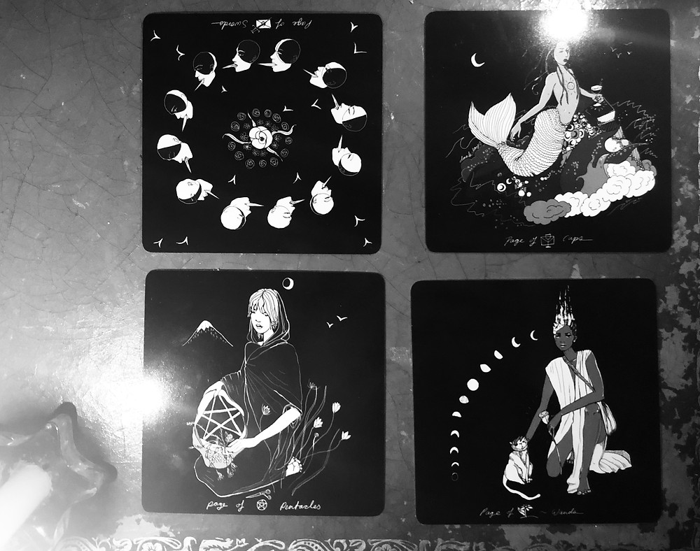 The Pages in Tarot by Wren McMurdo. Dark Days Tarot deck by Wren McMurdo.