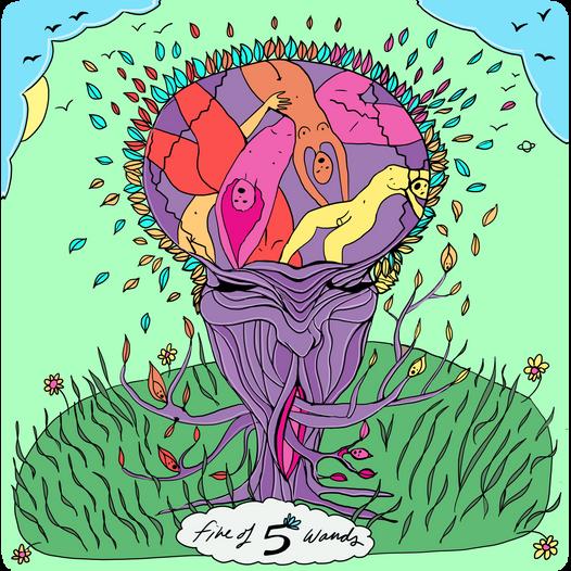 Mother Tarot Deck: Five of Wands