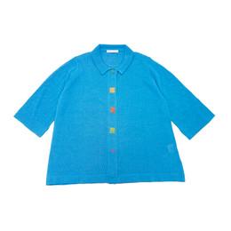 前立て刺繍半袖カーディガン