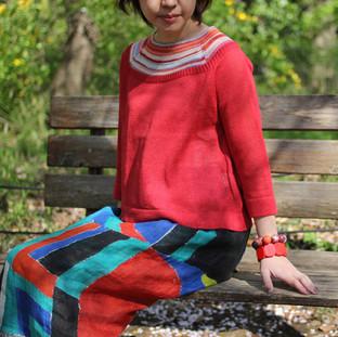 ラグラン袖のセーター