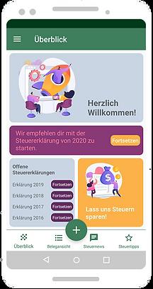 App Startbildschirm der Steuererklärung