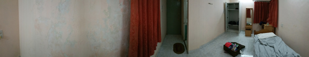 Panoramic of my room. Cushy, huh?