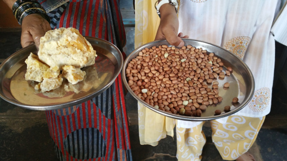 Jaggery on the left, ground nuts on the right. These foods are offered to the children daily but will be prepared in various ways to give variety.