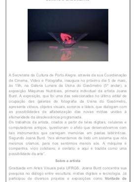 """02.05.2016 Galeria Lunara """"Joana Burd inaugura exposição Máquinas Nutritivas"""""""
