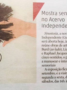 """25.08.2015  ZeroHora """"Mostra Sensorial no Acervo Independente"""""""