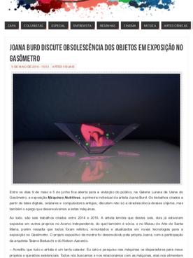 """05.05.2016 """"Joana Burd Discute Obsolescência dos objetos em Exposição no Gasômetro"""""""
