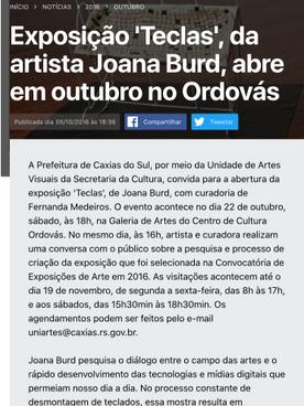 """05.10.2016 Noticas PCS """"Exposição Teclas da artista Joana Burd"""" 01"""
